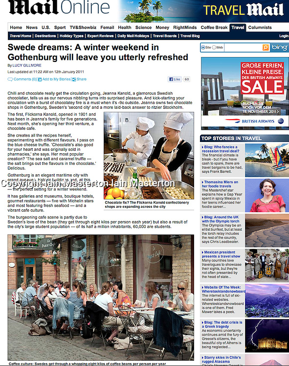 Tearsheet from Daily Mail. Gothenburg street cafe
