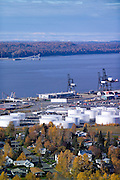 Alaska. Anchorage,  View over Port of Anchorage to Point MacKenzie
