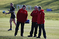 Warren Gatland , the Wales rugby team head coach ©, assistant coaches Neil Jenkins (l) and Robert Howley (r) during the Wales rugby team training session at the Vale Resort  in Hensol, near Cardiff , South Wales on Tuesday 20th February 2018.  the team are preparing for their next NatWest 6 Nations 2018 championship match against Ireland this weekend.   pic by Andrew Orchard