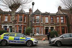 © Licensed to London News Pictures. 25/01/2020. London, UK. The crime scene on Mount Pleasant Road in Clapton, East London. Police launch a murder investigation at a residential property following fatal stabbing after 11pm on Friday 24 January following reports of a disturbance. A man was found with stab injuries inside the property and died later. A 27 year old man was arrested at the scene on suspicion of murder. Photo credit: Dinendra Haria/LNP