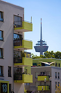 the Kubikon quarter of the GAG Immobilien AG in the Ehrenfeld district of Cologne, television tower Colonius, Germany.<br /> <br /> das Stadtquartier Kubikon der GAG Immobilien AG im Stadtteil Ehrenfeld, Fernsehturm Colonius, Koeln, Deutschland.