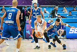 Haukur Palsson of Iceland vs Georgios Printezis of Greece during basketball match between National Teams of Greece and Iceland at Day 1 of the FIBA EuroBasket 2017 at Hartwall Arena in Helsinki, Finland on August 31, 2017. Photo by Vid Ponikvar / Sportida
