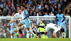 Leroy Sane of Manchester City brushes off Jack Cork of Swansea City - Mandatory by-line: Matt McNulty/JMP - 05/02/2017 - FOOTBALL - Etihad Stadium - Manchester, England - Manchester City v Swansea City - Premier League