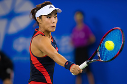 September 26, 2018 - Qiang Wang of China in action during the third-round match at the 2018 Dongfeng Motor Wuhan Open WTA Premier 5 tennis tournament (Credit Image: © AFP7 via ZUMA Wire)
