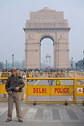 Security at India Gate on 26th December 2008 in Delhi, India. India Gate is a 1920s triumphal arch and war memorial.