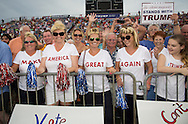 Aug. 21. 2015 Mobile, AL, Trump supporters at his campaign pep rally in Ladd Peebles Stadium. These women are all party of the Republican Party and plan to vote for Trump. <br /> About 20 thousand came to the Ladd-Peebles Stadium to attend Trumps campaign pep rally. 40,000 were expected to come.