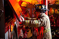 Fire fighter at a firehouse funded by the Stillaguamish Tribe in western Washington state.