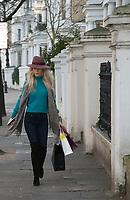 Leila Russack aka Miss Zagato  out shopping. Wearing<br /> Maison Michel and Alberta Ferretti green sweaterphoto by Terry Scott