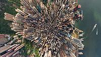 Aerial view above Hong Kong downtown.