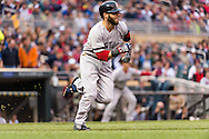 Dustin Pedroia #15 of the Boston Red Sox runs to 1st base during a game against the Minnesota Twins on May 17, 2013 at Target Field in Minneapolis, Minnesota.  The Red Sox defeated the Twins 3 to 2.  Photo: Ben Krause