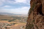 Israel, Lower Galilee, Mount Arbel overlooking the Sea of Galilee