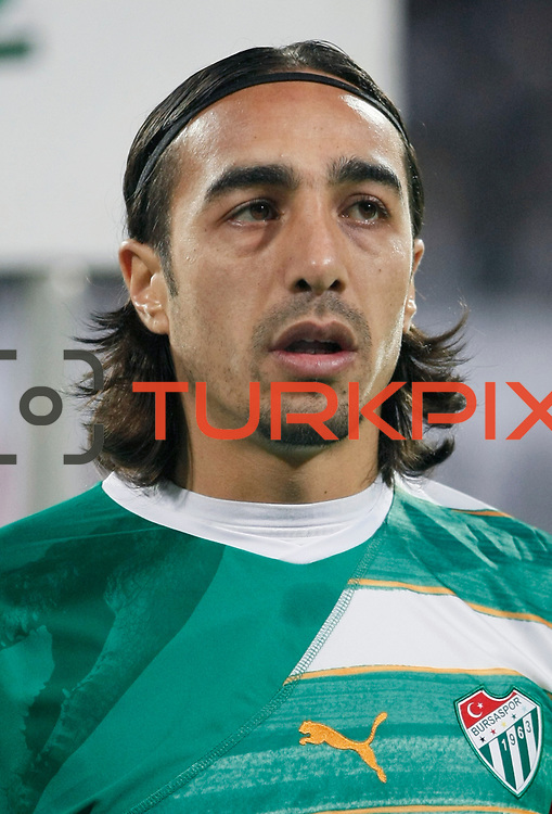 Bursaspor's Ibrahim Ozturk during their Turkish superleague soccer match Besiktas between Bursaspor at BJK Inonu Stadium in Istanbul Turkey on Sunday, 15 January 2012. Photo by TURKPIX