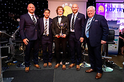 Jack Yeandle, Santiago Cordero and Matt Kvesic on stage with the Packexe Top Try Scorer of the Season award and Andre Orchard from Packexe and Tony Rowe OBE during the dinner - Ryan Hiscott/JMP - 16/05/2019 - SPORT - Sandy Park - Exeter, England - Exeter Chiefs End of Season Awards