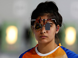 BUENOS AIRES, Oct. 10. 2018  Manu Bhaker of India looks on during the women's 10m air pistol final at the 2018 Summer Youth Olympic Games in Buenos Aires, Argentina on Oct. 9, 2018. Manu Bhaker won the gold. (Credit Image: © Xinhua via ZUMA Wire)