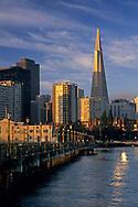 Downtown seen from Pier 5 along the Embarcadero, San Francisco, California