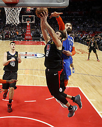 March 8, 2019 - Los Angeles, California, U.S - Los Angeles Clippers' Danilo Gallinari (8) goes to basket while defended by Oklahoma City Thunder's Steven Adams (12) during an NBA basketball game between Los Angeles Clippers and Oklahoma City Thunder Friday, March 8, 2019, in Los Angeles. (Credit Image: © Ringo Chiu/ZUMA Wire)