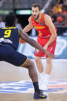 Spain's Sergio Rodriguez and Venezuela's Pedro Chourio during friendly match for the preparation for Eurobasket 2017 between Spain and Venezuela at Madrid Arena in Madrid, Spain August 15, 2017. (ALTERPHOTOS/Borja B.Hojas)