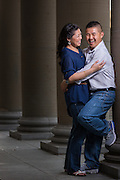 Dave and HemChing pose for portraits during their Engagement Session at Golden Gate Park in San Francisco, California, on July 19, 2015. (Stan Olszewski/SOSKIphoto)