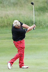 June 22, 2018 - Madison, WI, U.S. - MADISON, WI - JUNE 22: John Daly goes for the green on his second shot at the ninth hole during the American Family Insurance Championship Champions Tour golf tournament on June 22, 2018 at University Ridge Golf Course in Madison, WI. (Photo by Lawrence Iles/Icon Sportswire) (Credit Image: © Lawrence Iles/Icon SMI via ZUMA Press)