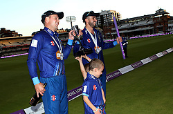 Gloucestershire's Geraint Jones and Gloucestershire's Jack Taylor with The Royal London One Day Trophy - Mandatory byline: Robbie Stephenson/JMP - 07966 386802 - 19/09/2015 - Cricket - Lord's Cricket Ground - London, England - Gloucestershire CCC v Surrey CCC - Royal London One-Day Cup Final