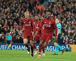 BRITAIN-LIVERPOOL-FOOTBALL-UEFA CHAMPIONS LEAGUE-LIVERPOOL VS FC BARCELONA..(190507) -- LIVERPOOL, May 7, 2019  Liverpool's Divock Origi (R) celebrates after scoring during the UEFA Champions League Semi-Final second Leg match between Liverpool FC and FC Barcelona at Anfield in Liverpool, Britain on May 7, 2019. Liverpool won 4-3 on aggregate and reached the final. FOR EDITORIAL USE ONLY. NOT FOR SALE FOR MARKETING OR ADVERTISING CAMPAIGNS. NO USE WITH UNAUTHORIZED AUDIO, VIDEO, DATA, FIXTURE LISTS, CLUBLEAGUE LOGOS OR ''LIVE'' SERVICES. ONLINE IN-MATCH USE LIMITED TO 45 IMAGES, NO VIDEO EMULATION. NO USE IN BETTING, GAMES OR SINGLE CLUBLEAGUEPLAYER PUBLICATIONS. (Credit Image: © Xinhua via ZUMA Wire)