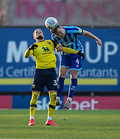 Blackpool's Rocky Bushiri (right) battles with Oxford United's Marcus Browne (left) <br /> <br /> Photographer David Horton/CameraSport<br /> <br /> The EFL Sky Bet League One - Oxford United v Blackpool - Saturday 1st February 2020 - Kassam Stadium - Oxford<br /> <br /> World Copyright © 2020 CameraSport. All rights reserved. 43 Linden Ave. Countesthorpe. Leicester. England. LE8 5PG - Tel: +44 (0) 116 277 4147 - admin@camerasport.com - www.camerasport.com