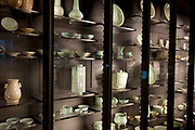 The British Museum, London. Ceramics from all over the World on display in glass cabinets.