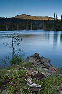 Sunset light on Mount Tallac over Suzie Lake Desolation Wilderness, El Dorado National Forest, California