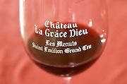 Wine glasses. Chateau la Grace Dieu les Menuts, Saint Emilion, Bordeaux, France
