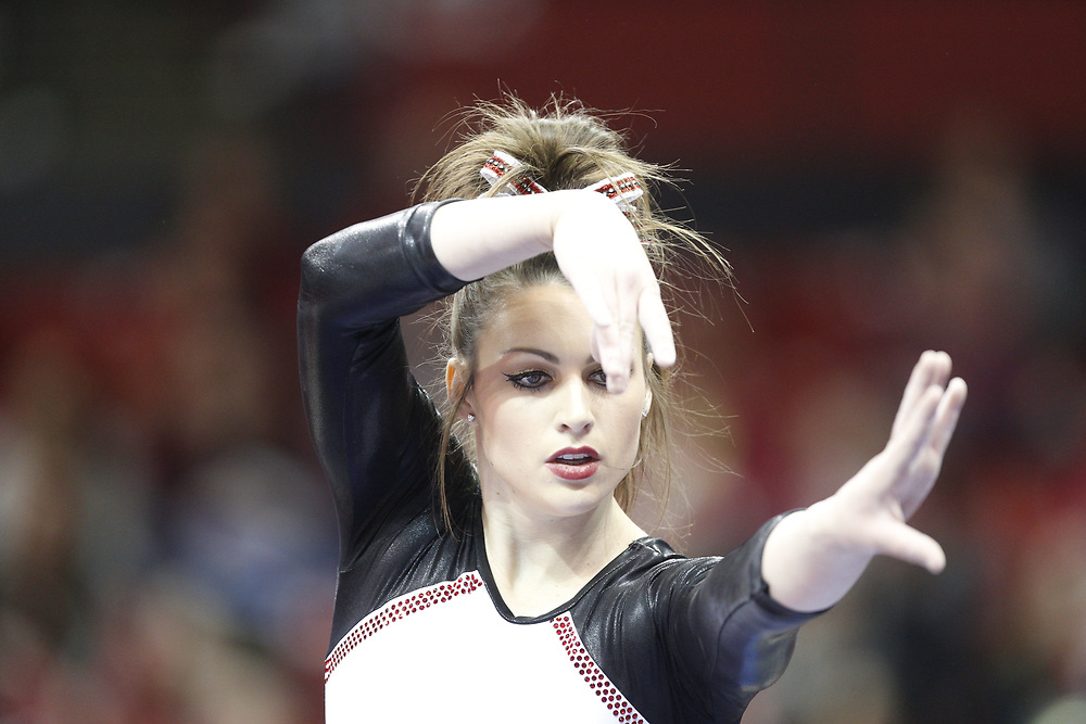 Madison McConkey competes on the beam against Minnesota at the Bob Devaney Sports Center in Lincoln, Neb., on Feb. 12, 2016. Photo by Aaron Babcock, Hail Varsity