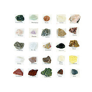 Vintage rock collection with printed labels: Calcite Feldspar Fluorite Gabbro Garnet Limestone Marble Mozarkite Sulphur Rhyolite