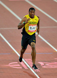To add to his poor performance this evening Yohan BLAKE (Jamaica) appears to have run out of his lane in the Commonwealth Games 2018 - Athletics - Mens - 100m Final - Blake runs out of lane.<br /> Crossing the lane dividing line could mean disqualification for Blake.<br /> Blake finished third in the Final this evening at Carrara Stadium, despite being the second fastest man in history.