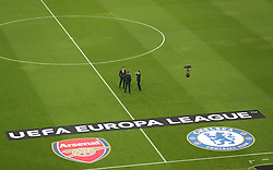 Arsenal players inspect the pitch ahead of the match during the UEFA Europa League final at The Olympic Stadium, Baku, Azerbaijan.