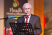 Labhrás Ó Murchú, Director General Comhaltas Ceoltóirí Éireannspeaking at the Fleadh 2016 Fáiltiú at Cois na hAbhanna, Ennis. Photograph by Eamnon Ward