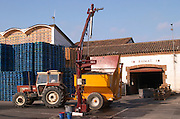 Grape delivery with tractors and containers. Probe to test the grape must at reception. Winery building. Raimat Costers del Segre Catalonia Spain