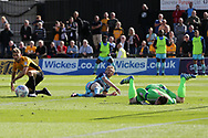 Craig Mackail-Smith of Wycombe © shoots past Newport goalkeeper Joe Day but sees his shot hit the post and the rebound goes clear. EFL Skybet football league two match, Newport county v Wycombe Wanderers at Rodney Parade in Newport, South Wales on Saturday 9th September 2017.<br /> pic by Andrew Orchard, Andrew Orchard sports photography.