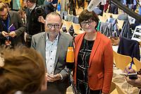 26 OCT 2019, BERLIN/GERMANY:<br /> Norbert Walter-Borjans (L), SPD, Landesminister a.D., und Saskia Esken (R), MdB, SPD, geben ein Statement, nach der Bekanntgabe der SPD-Mitgliederbefragung  zur Wahl des neuen Parteivorsitzes, Willy-Brandt-Haus<br /> IMAGE: 20191026-01-056<br /> KEYWORDS: Verkündung, Verkeundung, Mikrofon, microphone