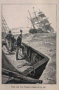 Then the two vessels past on from the book ' Mistress Branican ' by Jules Verne, illustrated by Leon Benett. The story begins in the United States, where the heroine, Mistress Branican, suffers a mental breakdown after the death by drowning of her young son. On recovering, she learns that her husband, Captain Branican, has been reported lost at sea. Having acquired a fortune, she is able to launch an expedition to search for her husband, who she is convinced is still alive. She leads the expedition herself and trail leads her into the Australian hinterland. Mistress Branican (French: Mistress Branican, 1891) is an adventure novel written by Jules Verne and based on Colonel Peter Egerton Warburton and Ernest Giles accounts of their journeys across the Western Australian deserts, and inspired by the search launched by Lady Franklin when her husband Sir John Franklin was reported lost in the Northwest Passage. Translated by A. Estoclet, Published in New York, Cassell Pub. Co. 1891.