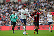 Dele All of Tottenham Hotspur runs away from Andrew Surman of AFC Bournemouth.<br /> Premier league match, Tottenham Hotspur v AFC Bournemouth at Wembley Stadium in London on Saturday 14th October 2017.<br /> pic by Kieran Clarke, Andrew Orchard sports photography.