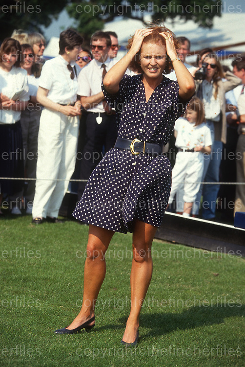 Sarah, Duchess of York seen at a polo match at the Royal Berkshire Polo Club in July 1990. Photograph by Jayne Fincher