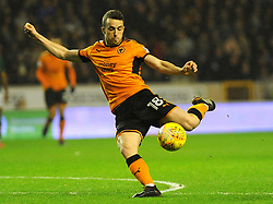 Ryan Woods of Brentford and Diogo Jota of Wolverhampton Wanderers compete for the highball - Mandatory by-line: Nizaam Jones/JMP - 02/01/2018 - FOOTBALL - Molineux - Wolverhampton, England- Wolverhampton Wanderers v Brentford -Sky Bet Championship
