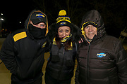 Hurricanes fans on a cold night in Canberra before the start of the the Super Rugby match, Brumbies V Hurricanes, GIO Stadium, Canberra, Australia, 30th June 2018.Copyright photo: David Neilson / www.photosport.nz