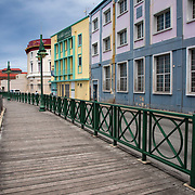 Boardwalk and Colorful Buildings on the Harbor in Bridgetown, Barbados