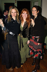 Left to right, BAY GARNETT, CHARLOTTE TILBURY and SAFFRON ALDRIDGE at a party to celebrate the publication of Style by interior designer Kelly Hoppen held at 50 Cheyne Walk, London on 10th November 2004.<br /><br />NON EXCLUSIVE - WORLD RIGHTS