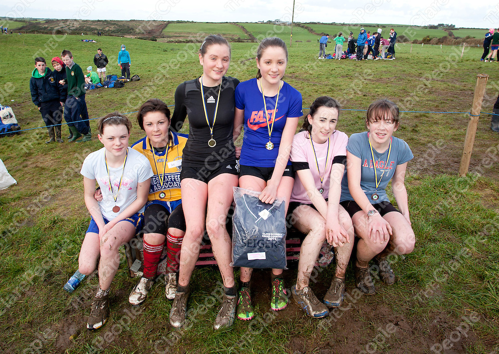 01.12.11<br /> Action from the Clare Secondary Schools Cross Country Championships, Mullagh Co. Clare. Competing in the girls Intermediate event were, Siobhain Nestor 5th, Scoil Mhuire, Ennistymon, Caoimhe McMahon, 6th, Spanish Point Secondary School, Niamh Clancy 2nd, St. Michael's Community College Kilmihill, Jean Clancy, 1st St. Michael's Community College Kilmihill, Laura Powere, 3rd, Colaiste Mhuire Ennis and Nollaig Blake, 4th, St. Michael's Community College Kilmihill<br /> . Picture: Alan Place/Press 22.