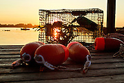 Lobster buoys and a trap sit on a dock at sunrise in Beals Island, Maine.