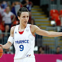07 August 2012: France Celine Dumerc calls a play during 71-68 Team France victory over Team Czech Republic, during the women's basketball quarter-finals, at the Basketball Arena, in London, Great Britain.