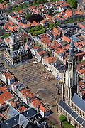 Nederland, Zuid-Holland, Delft, 09-05-2013; <br /> Historisch centrum van Delft zicht op de Markt met terrassen, de Nieuwe Kerk rechtsbeneden en het stadhuis (l ),  <br /> Historic center of Delft with terraces overlooking the Market, the New Church (r ) and Town Hall (l ).<br /> luchtfoto (toeslag op standard tarieven)<br /> aerial photo (additional fee required)<br /> copyright foto/photo Siebe Swart<br /> luchtfoto (toeslag op standard tarieven)<br /> aerial photo (additional fee required)<br /> copyright foto/photo Siebe Swart