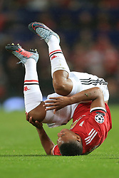 12th September 2017 - UEFA Champions League - Group A - Manchester United v FC Basel - Anthony Martial of Man Utd takes a tumble - Photo: Simon Stacpoole / Offside.