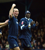 Photo: Chris Ratcliffe.<br />Southend United v Brentford. Coca Cola League 1. 14/01/2006.<br />Efe Sodje celebrates with Spencer Prior after opening the scoring for Southend.